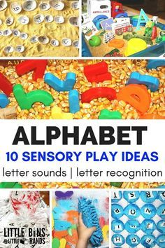Alphabet sensory play activities and ideas for kids learning the alphabet and practicing letter sounds. Alphabet activities for toddler and preschool age kids.