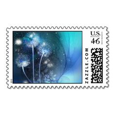 blue dandelion beautiful postage stamps
