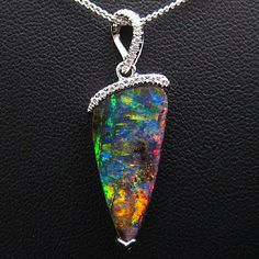 Boulder Opal and diamond pendant in white gold Finders Lane, Melbourne, Australia
