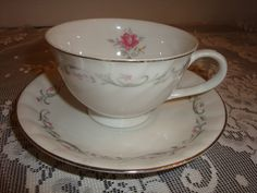 vintage Royal swirl pink rose floral china by pureblisscottage