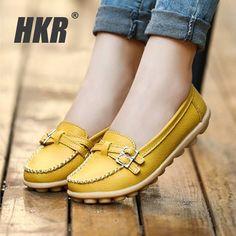 HKR mujeres de los planos zapatos de cuero genuino madre enfermera zapatos Slip-on punta redonda planos del ballet de la bailarina pisos mocasines para de las mujeres 1188