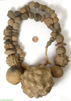 Africa | Sao culture ancient clay bead neckace | Made in Chad/Sudan | Age unknown but possibly ancient; the Sao culture of the Chad is now extinct, but these beads have been passed down through the generations to the present day.