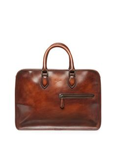 Single-Zip Leather Briefcase, Brown  by Berluti at Neiman Marcus.