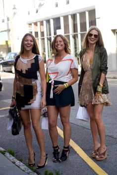 (from left to right) Jewelry designer Anne Van Harlingen, designer Ashley Reid of Charleston, and New York based Stylist Natalie Decleve looking amazing in numbers off King Street.    www.angelspov.com