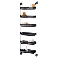Steel over-door organizer with six storage baskets. Product: Basket organizerConstruction Material: Steel and plasticColor: Black and whiteFeatures: Six basketsDimensions: H x W x D Basket Organization, Kitchen Cabinet Organization, Storage Cabinets, Home Organization, Kitchen Storage, Organizing Ideas, Cabinet Organizers, Kitchen Rack, Pantry Storage