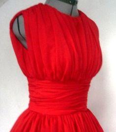 Élégante mousseline de soie rouge années 50 robe par elegance50s