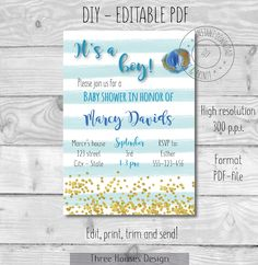 Fine Paper, Paper Art, Gold Confetti, Baby Shower Invitations For Boys, Make Design, Baby Boy Shower, Art Day, Paper Cutting, Etsy Store