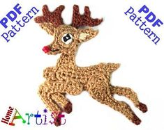 Crochet Pattern Instant PDF Download Deer Crochet Applique | Etsy Crochet Animal Patterns, Applique Patterns, Stuffed Animal Patterns, Crochet Animals, Dinosaur Stuffed Animal, Rudolph Characters, Pacifier Clip Tutorial, Cute Raccoon, Thick Yarn