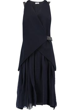 BRUNELLO CUCINELLI Layered Embellished Silk-Organza And Wool-Blend Dress. #brunellocucinelli #cloth #dress