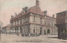 Vintage postcard showing General Post Office, West Hartlepool, County Durham. Postcard was written and posted in Stamp has been removed. General Post Office, Northern England, Middlesbrough, Documentary Photography, Durham, Taj Mahal, The Past, History, Street