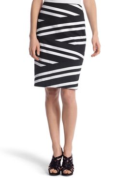 Mitered-Stripe Pencil Skirt