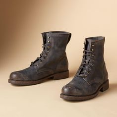 Wayde Combat Boots: Frye adds street savvy to classic combat boots, cobbled in distressed vegetable tanned leather for longwearing comfort. Whole and half sizes 8 to Made Clothing, Brown Shoe, Vegetable Tanned Leather, Hiking Boots, Combat Boots, Footwear, Man Shop, Mens Fashion, Clothes For Women