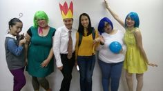 Kinder teachers dress up as inside out chatacters for book week