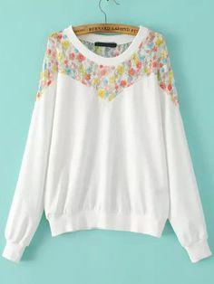 White Round Neck Floral Lace Loose Sweatshirt 19.67
