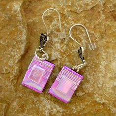 Pink Dichroic Fused Glass Earrings Dichroic Fused by GlassCat, $25.00