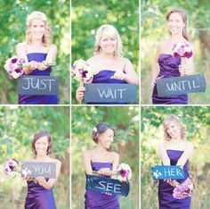 """Just wait until you see her"" First Look wedding signs"