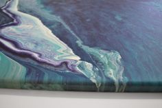 Gentle Waves Original Blue & White Abstract Fluid Painting by Louise Mead