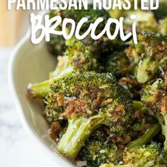 Parmesan Roasted Broccoli is a quick and easy side dish vegetable that is constantly requested in our house. Parmesan Roasted Broccoli has quickly become one of my new favorite ways to eat broccoli. Vegetable Side Dishes, Side Dishes Easy, Side Dish Recipes, Veggie Recipes, Healthy Recipes, Vegetarian Recipes, Parmesan Recipes, Supper Recipes, Thanksgiving Vegetable Sides