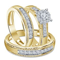 Trio & Groom 1.57CT Sim Diamond & 9k Yellow Gold Finish Wedding Trio Ring Set #br925silverczjewelry #SolitaireWithAccentsRing