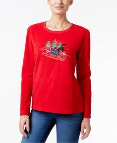 Karen Scott Petite Sleigh Graphic Sweatshirt, Only at Macy's - Tops - Women - Macy's