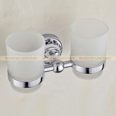 Luxury European Style Chrome Copper Toothbrush Tumbler&Cup Holder W/ 2 Glass Cups Wall Mounted Bath Product Banheiro St6703