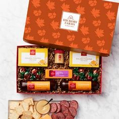 Thanksgiving Gift Baskets - Hickory Farms Thanksgiving Gift Box Hickory Farms, Gourmet Cheese, Gourmet Gift Baskets, Creamy Cheese, Thanksgiving Gifts, Toasted Crackers, Lunch Box, Treats, Snacks