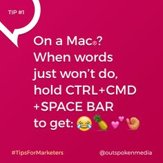 Every day we find fun tips that make ‪#‎AgencyLife‬ more productive. Emojis are easy to access on the phone, but what about when you want to illustrate an email subject line? Here's how to type an emoji on your Mac using a simple shortcut with the CTRL + CMD + space bar keys. Enjoy!  Follow Outspoken Media and ‪#‎tipsformarketers‬ to add simple tricks like this to your marketing tool belt! Marketing Tools, Digital Marketing, Email Subject Lines, Tool Belt, Keys, Mac, How To Get, Type, Phone
