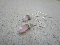 Pink Crystal Chalcedony Stone Long Threader Earrings