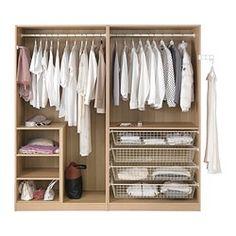 PAX Garderobeskap, hvitbeiset eikemønster, Hasvik hvit - 200x66x201 cm - IKEA
