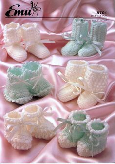 Your place to buy and sell all things handmade Baby Knitting Patterns, Baby Patterns, Vintage Patterns, Crochet Patterns, Knit Or Crochet, Crochet Hooks, Baby Bootees, Knitted Booties, Free Pattern