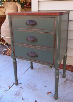great mix of wood and paint -  Khaki Night Stand