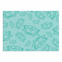 KESS InHouse KESS Original 'Lotus Pattern-Teal' Yoga Flowers Dog Place Mat, 13' x 18' >>> New and awesome dog product awaits you, Read it now  : Dog food container