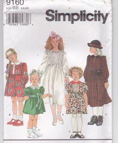1990's Sewing Pattern - Simplicity 9160 Girls dress, Size 5-6X, Uncut, Factory Folded by jennylouvintage on Etsy