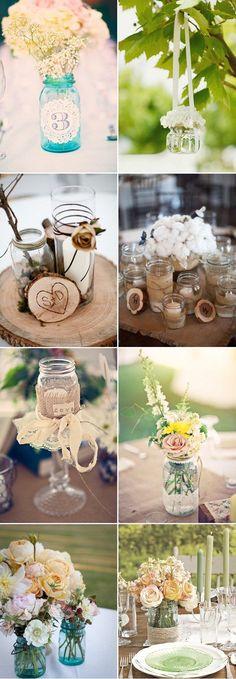 mason jar wedding centerpieces / http://www.himisspuff.com/rustic-mason-jar-wedding-ideas/