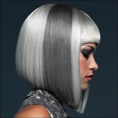 Silver and Grey bob haircut #hair #colour
