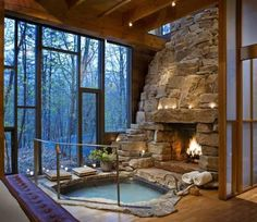 Funny pictures about Perfect Indoor Jacuzzi And Fireplace. Oh, and cool pics about Perfect Indoor Jacuzzi And Fireplace. Also, Perfect Indoor Jacuzzi And Fireplace photos. Future House, Fireplace Pictures, Sweet Home, Design Case, Dream Rooms, Dream Bathrooms, Luxury Bathrooms, Luxury Bathtub, Log Cabin Bathrooms