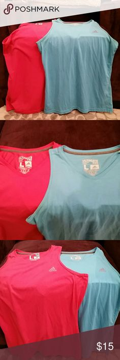 Lot of 2 Adidas Tank Tops 2 Adidas work out tanks. V neck. One bright pink, one bright blue. Adidas Tops Tank Tops