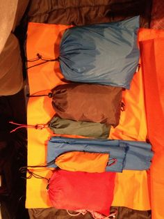 Some Ripstop nylon gear bags I've sewn together for my kayak sailing camping trip
