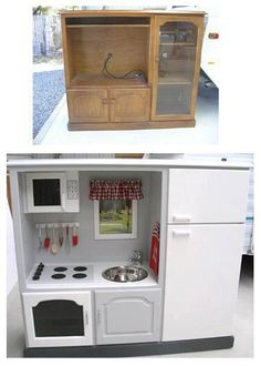 DIY play kitchen from an old entertainment center. This might be one of the best DIY play kitchens I have seen.