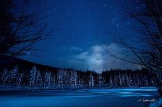 「青い池とオリオン」 北海道美瑛町「青い池のライトアップ」