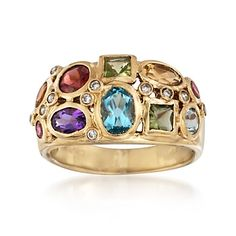 2.30 ct. t.w. Multi-Stone Ring With Diamonds in 14kt Gold Over Sterling