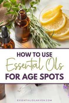 Top 5 essential oils for age spots: Frankincense, Sandalwood, Lavender, Rosemary, Lemon. Combine them with a potent carrier oil in this DIY serum recipe. Age Spots Essential Oils, Essential Oil Carrier Oils, Essential Oils For Sleep, Lemon Essential Oils, Essential Oil Uses, Natural Essential Oils, Young Living Essential Oils, Age Spots On Face, Essential Oils