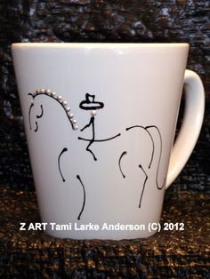 Z ART Hand Painted Dressage Horse Mug 12oz by tamilarkeanderson, $12.00