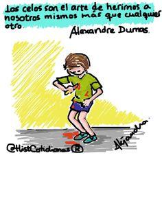 Los celos...  (Dibujo inspirado en un tuit de @ptarkkonen , de una frase de #AlejandroDumas ).