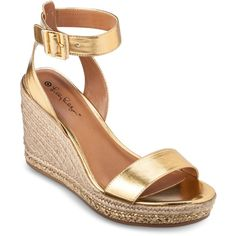 Lilly Pulitzer for Target Women's Wedge Espadrille Sandals Gold ($15) found on Polyvore featuring shoes, sandals, wedges, white shoes, espadrille wedge sandals, espadrille sandals, wedge sandals and wedge heel sandals