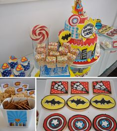 Super Hero party- how about this cake with wonder woman and superman on top? lol