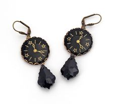 Steampunk Earrings Vintage Glass Clock Face Cabochon Swarovski Baroque Crystal Antique Gold Bronze Brass Jet Black Victorian Statement - pinned by pin4etsy.com