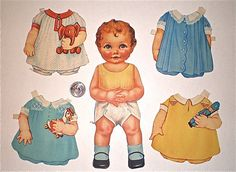 Paper Doll, Vintage,Queen Holden, Baby Sister,1920s,1 doll, 26 outfits, Doll is about 9 inches tall. $22.95, via Etsy.