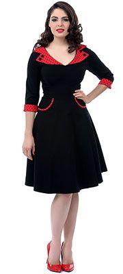 Black & Red Three-Quarter Sleeve 1950s Retro Rona Dress $88.00  http://www.vintagedancer.com/retro-dresses/plus-size-retro-dresses/
