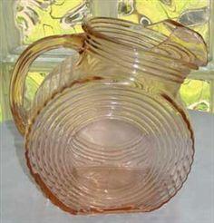 Big Ben Pink Depression Glass Pitcher